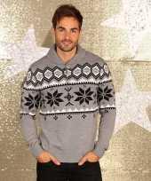 Goedkope kerstmis trui grijs met kraag