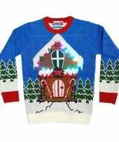 Goedkope kerstmis trui met kersthuis en lichtjes