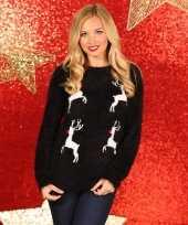 Goedkope kerstmis trui zwart met rendieren
