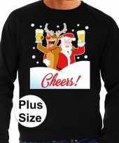 Goedkope plus size zwarte foute kersttrui sweater proostende kerstman rendier voor heren