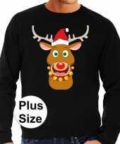 Goedkope plus size zwarte foute kersttrui sweater rudolf rendier voor heren