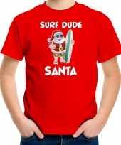 Goedkope surf dude santa fun kersttrui outfit rood voor kinderen
